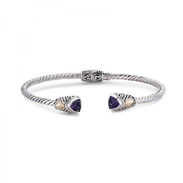 Samuel B. Sterling Silver/18KY Trillion Shape Bangle with Amethyst