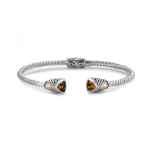 Samuel B. Sterling Silver/18KY Trillion Shape Bangle with Citrine