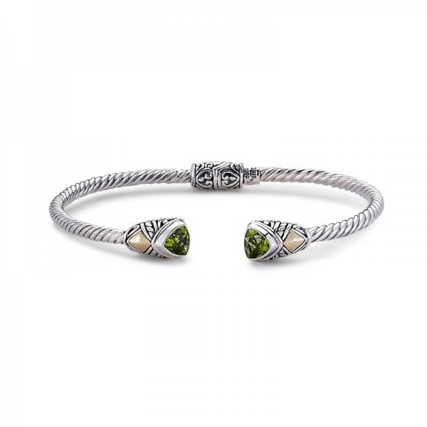 Samuel B. Sterling Silver/18KY Trillion Shape Bangle with Peridot