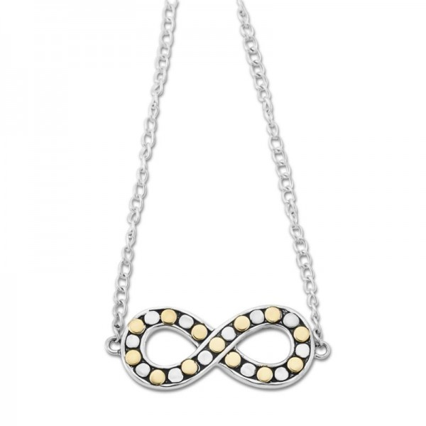 Samuel B. Sterling Silver/18KY Beaded Infinity Necklace