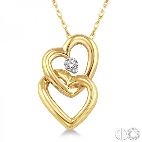 10K Yellow .07ct Double Heart Diamond Pendant