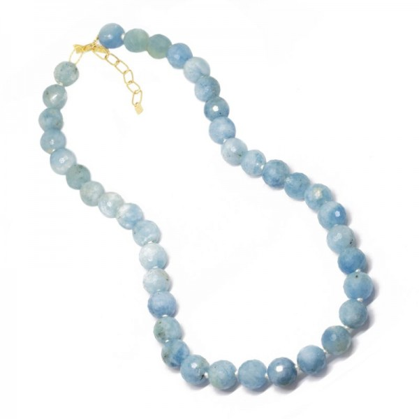 Lotus Aquamarine 18KY Necklace