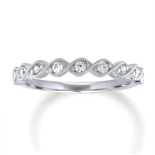 14K White Gold Round Diamond Bezel Set Milgrian Anniversary Band w/9 Round Diamonds 0.2ctw