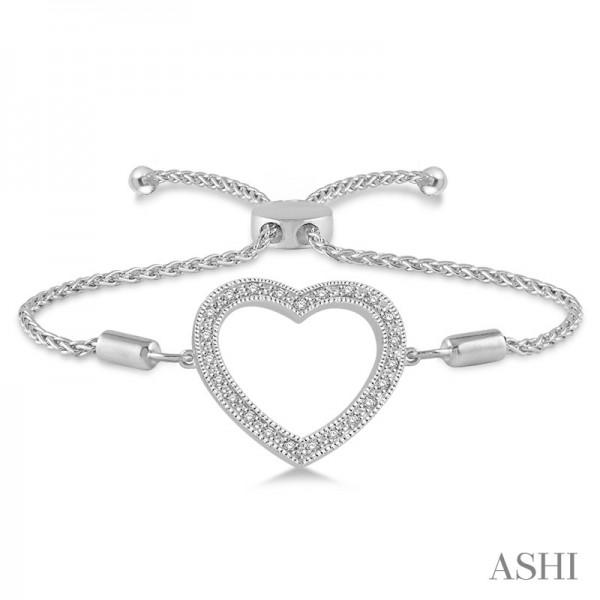 Sterling Lariat Diamond Heart Bracelet .08ct tw