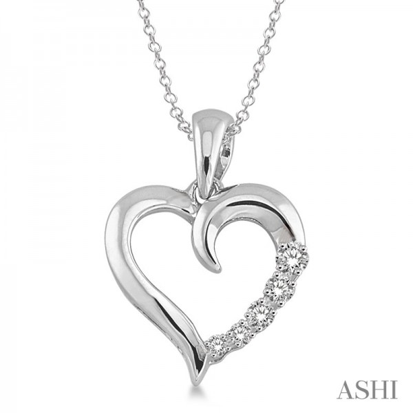 14KW Heart Journey Pendant with 6=0.03 ctw Round Diamonds