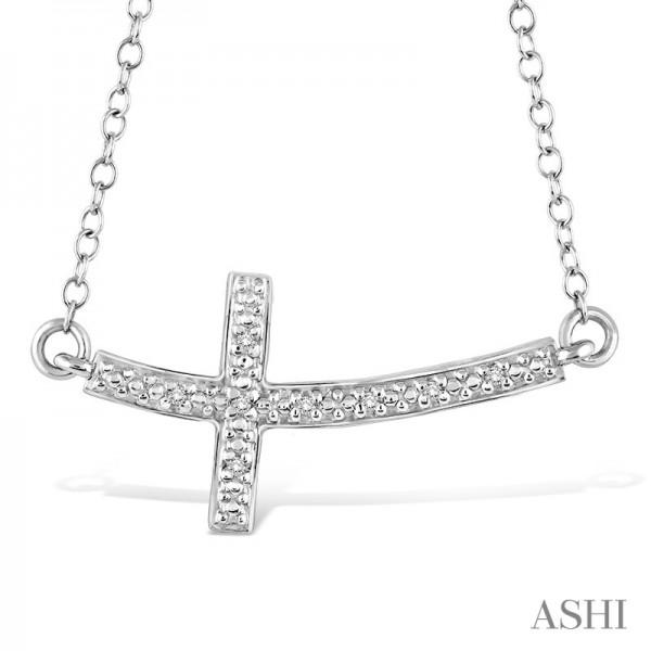Sterling Sideways Diamond Cross Pendant .03ct tw