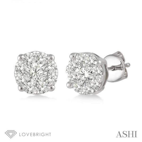 .75 ct tw LoveBright Earrings 18 diamonds 14k H-I SI2
