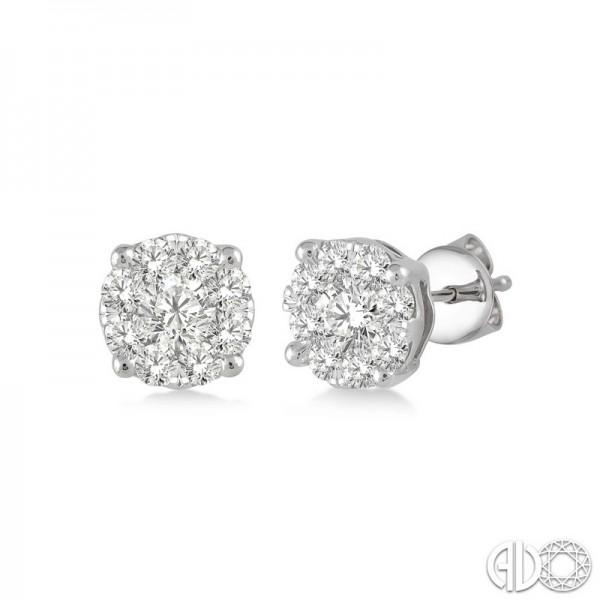 14k White Gold.15ct tw LoveBright Diamond Earrings
