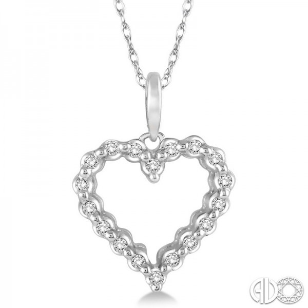 10k White Gold .10ct tw Diamond Heart Pendant