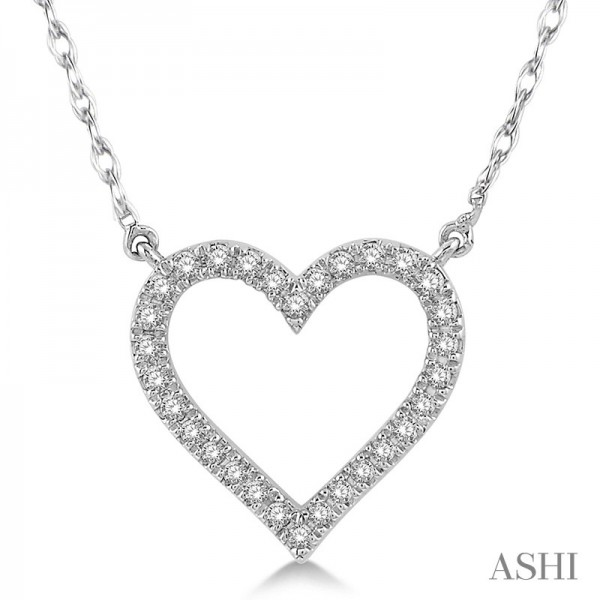 10K White Gold Diamond Heart Pendant .15ct tw