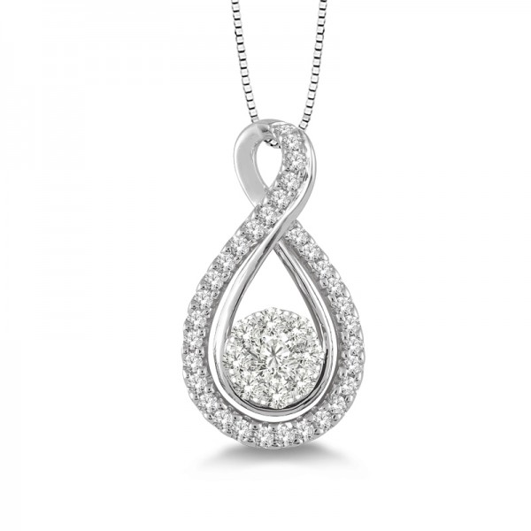 14k White Gold .45ct tw LoveBright Diamond Pendant
