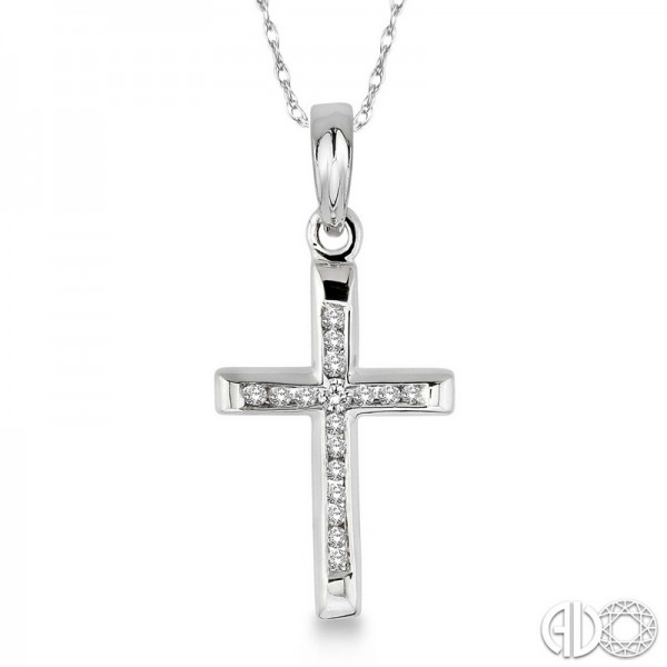 10k White Gold .10ct tw Diamond Cross Pendant