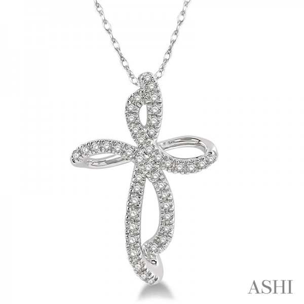10KW .15ct tw Diamond Cross Pendant