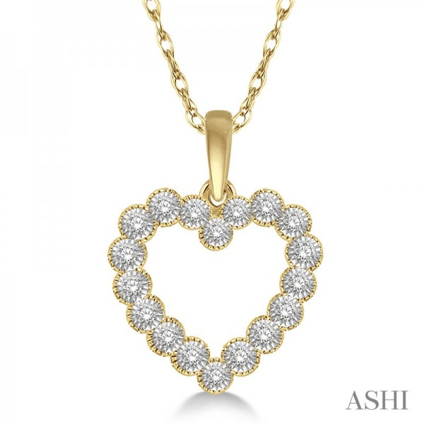 10K Yellow Gold Diamond Heart Pendant .12ct tw