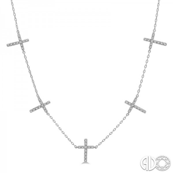 10k White Gold .15ct tw Diamond Multi Station Cross Necklace