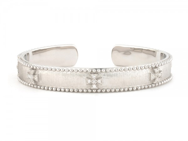 Jude Frances Silver Narrow Beaded Maltese Cuff