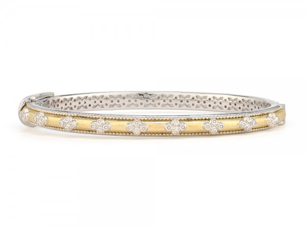 JudeFrances gold and sterling silver stackable bangle bracelet.