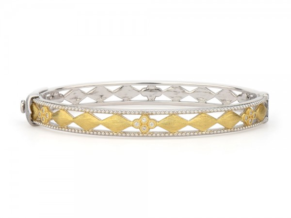 JudeFrances sterling silver, gold and diamond cuff bracelet