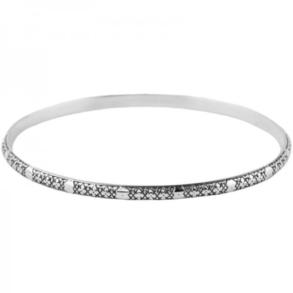 Women's Sterling Silver Etched Bangle