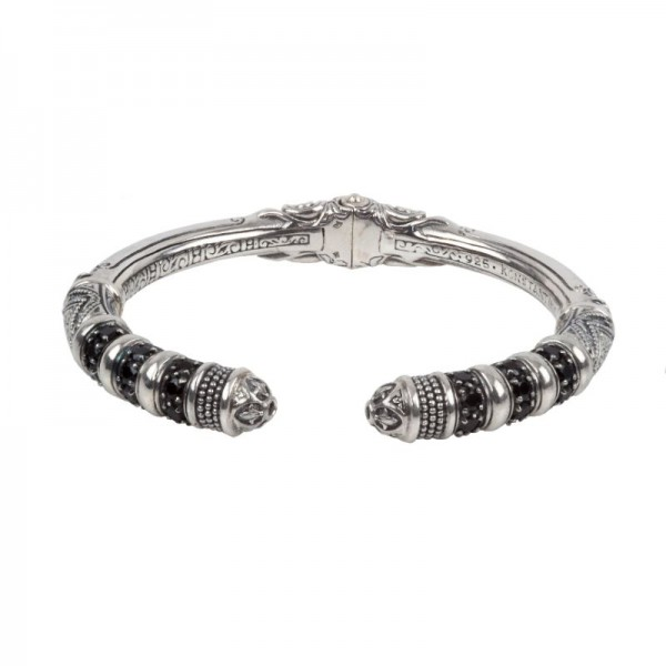 Sterling Silver hinged bangle with black spinel