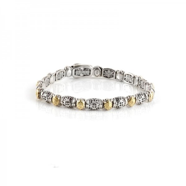 Women's Small sterling silver and gold station bracelet