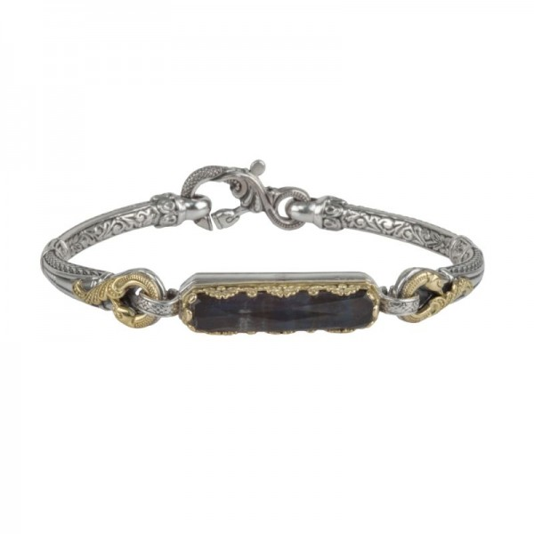 Silver & gold spectrolite doublet bracelet