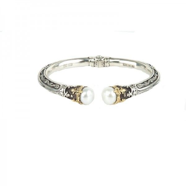 Women's Sterling Silver and 18kt Yellow Gold hinged bracelet with pearl