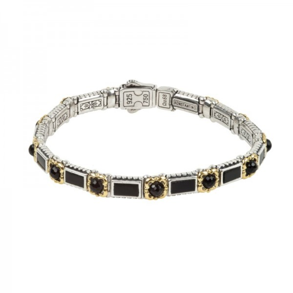 Women's Sterling Silver and 18K Gold Bracelet with Black Onyx