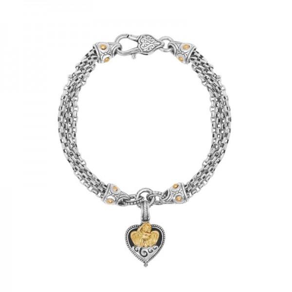 Women's Sterling Silver & 18KY Gold Heart Chain Bracelet