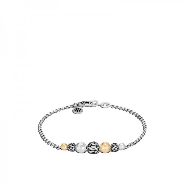 Classic Chain Station Bracelet in Hammered 18K Gold, Silver