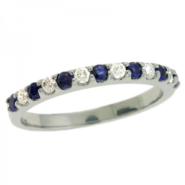 Ladie's 14K White Gold Gold Sapphire & Diamond Ring