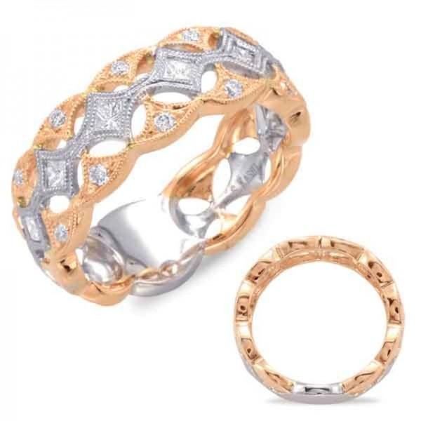 Ladie's 14k White & Rose Gold Pave Ring