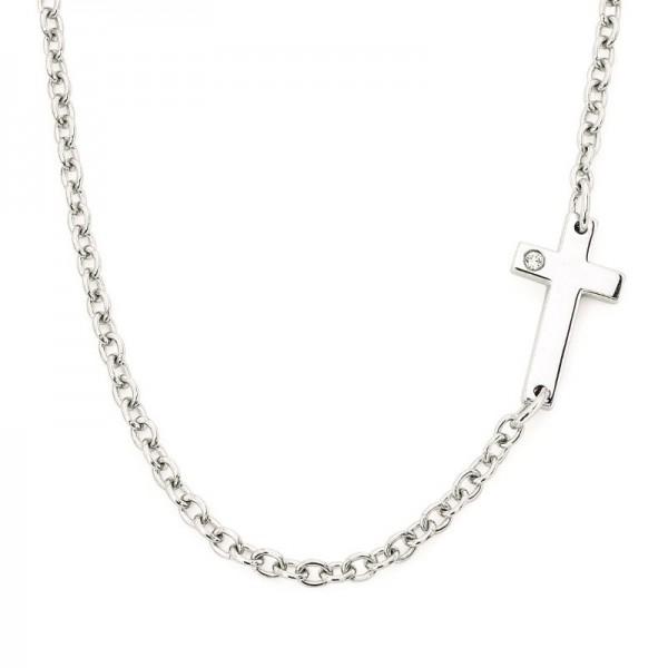 SS Diva Diamonds® Petite Sideways Cross Necklace