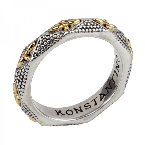 Women's Sterling Silver and 18kt Yellow Gold band ring with gold cross design on band size 7