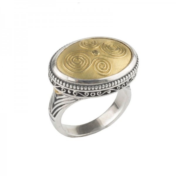 Women's Sterling Silver and 18kt Yellow Gold ring with oval top set horizontal