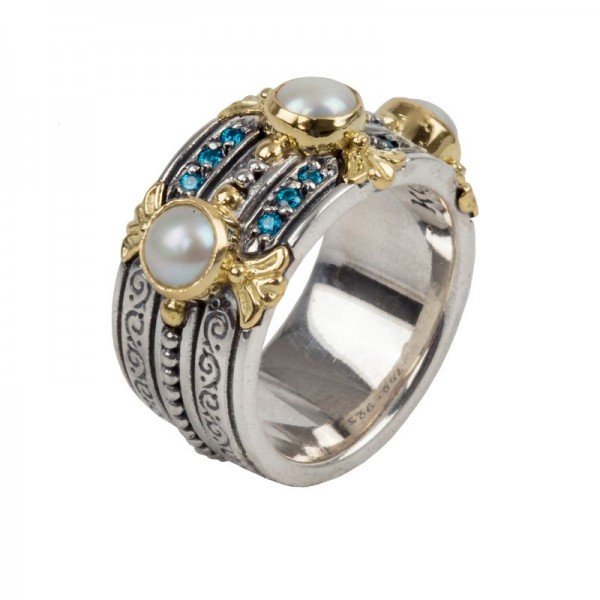 Women's Sterling Silver and 18kt Yellow Gold band ring set with blue spinel and pearl size 7