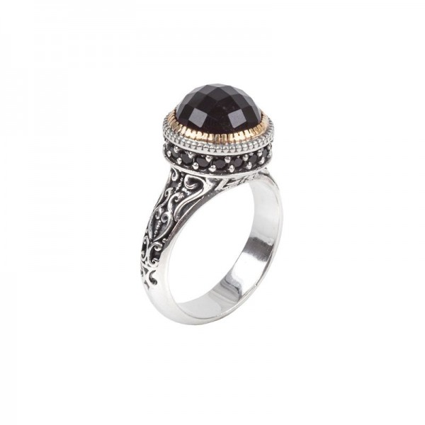 Women's Sterling and 18KY Onyx and Spinel Ring