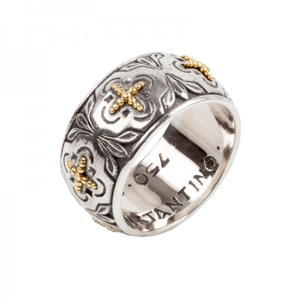 Women's Sterling / 18K Band with Crosses