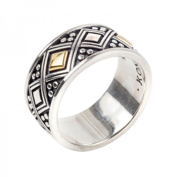 Men's  Silver & 18KY Gold Ring, Size 10