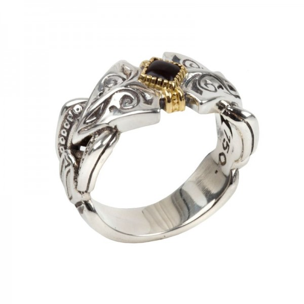 Women's Sterling and 18KY Onyx Ring