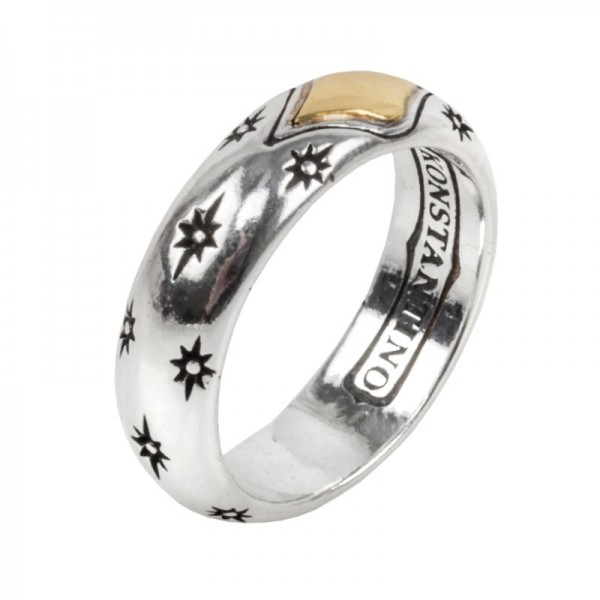 Women's  Astria Collection Silver & 18KY Gold Spectral Line Ring, Size 7