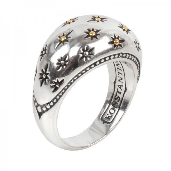 Women's  Astria Collection Silver & 18KY Golden Constellation Ring, Size 7