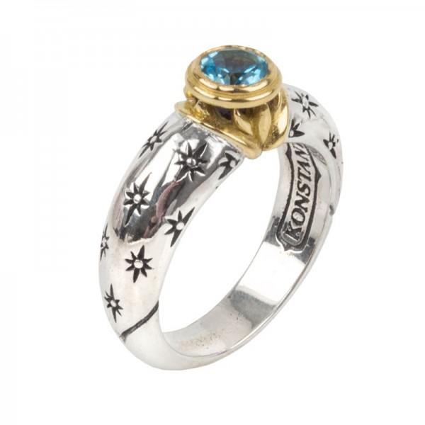 Women's  Astria Collection Silver & 18KY Gold Aurora Cosmos Blue Spinel Ring, Size 7