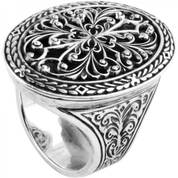 Women's Sterling Silver classic oval filigree size 7