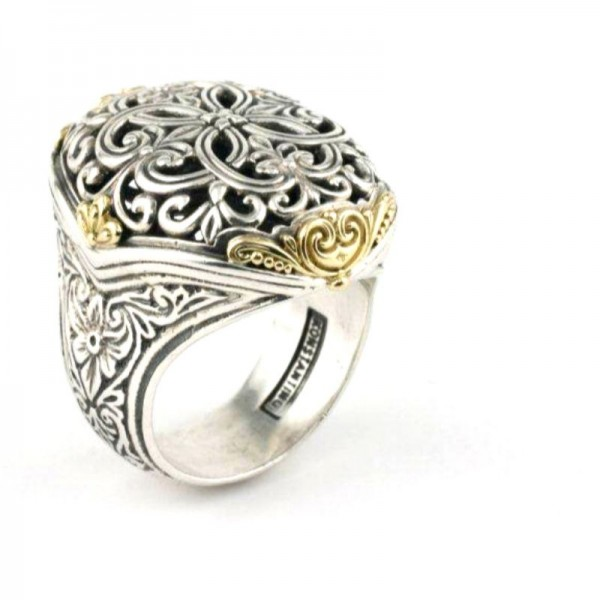 Women's Sterling Silver and 18kt Yellow Gold oval top filigree ring with gold accents size 7