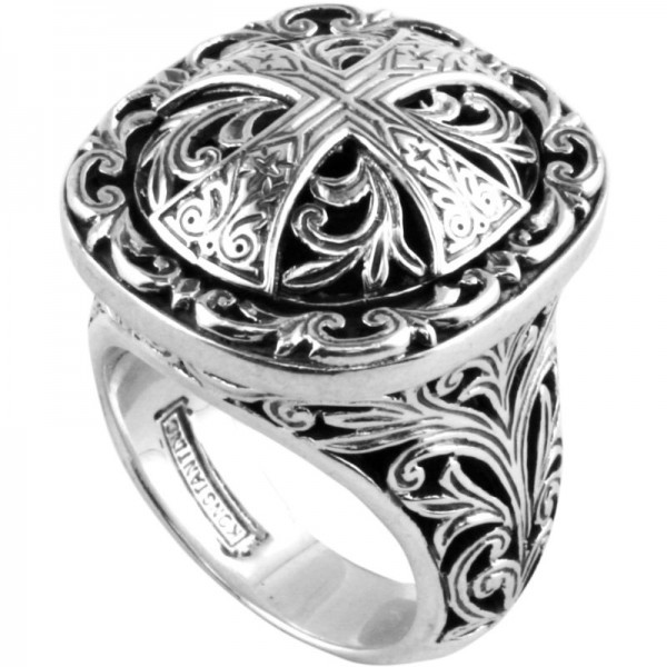 Women's Sterling Silver RING WITH CROSS ON TOP