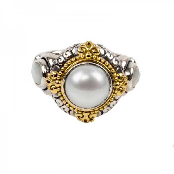 Sterling Silver and 18kt Yellow Gold Mother of Pearl + PEARL RING