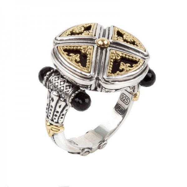 Women's  Calypso Collection Silver & 18KY Gold Onyx Ring, Size 7