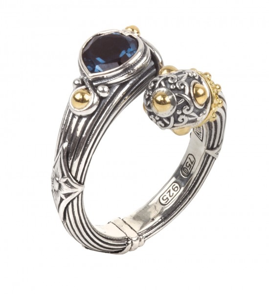 Women's Sterling and 18KY London Blue Topaz Ring
