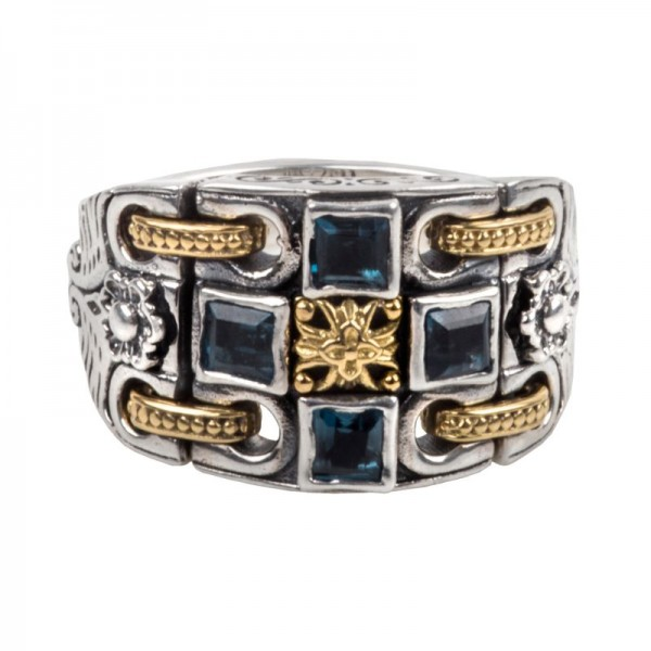 Women's Sterling Silver and 18K Gold Women's Ring with London Blue Topaz